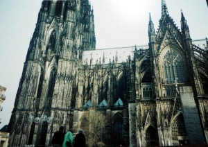 A Cathedral in Cologne that was under reconstruction from war.